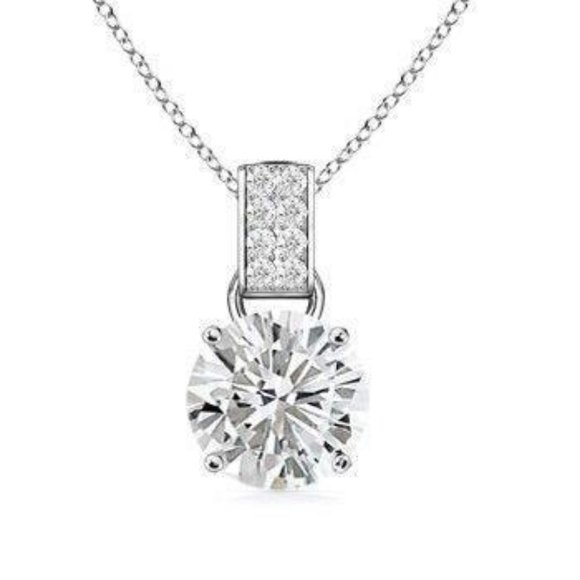 Jewelry - Diamond Pendant White 1.65 Carats Round Solitaire